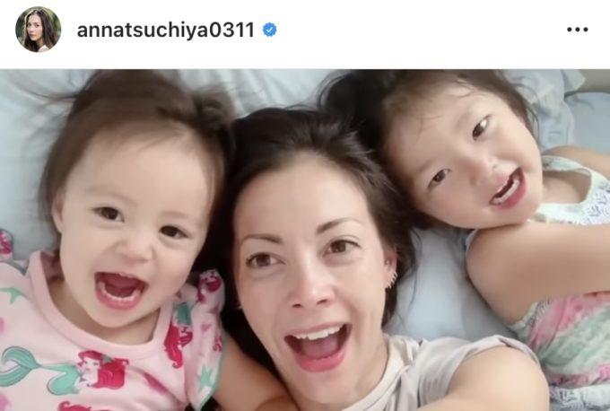 """土屋アンナ、娘たちと3人で顔を寄せ合った""""朝のお遊び動画""""公開し反響「仲良し親子」「みんな美人」"""