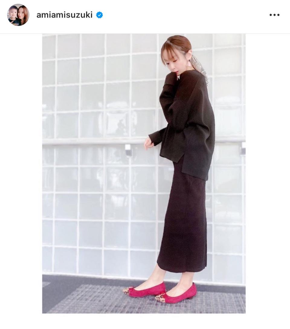 """鈴木亜美、すらっと美スタイルの""""秋冬コーデ""""公開「こんな感じのお洋服がお気に入り」"""