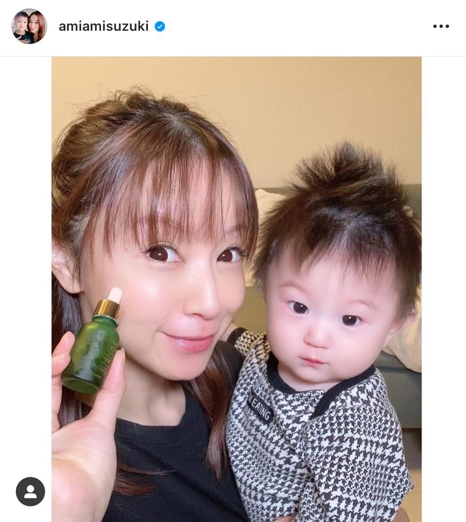 鈴木亜美、次男の生後8か月を報告&美肌SHOTに反響「お肌ツルツル」「昔から変わらない」