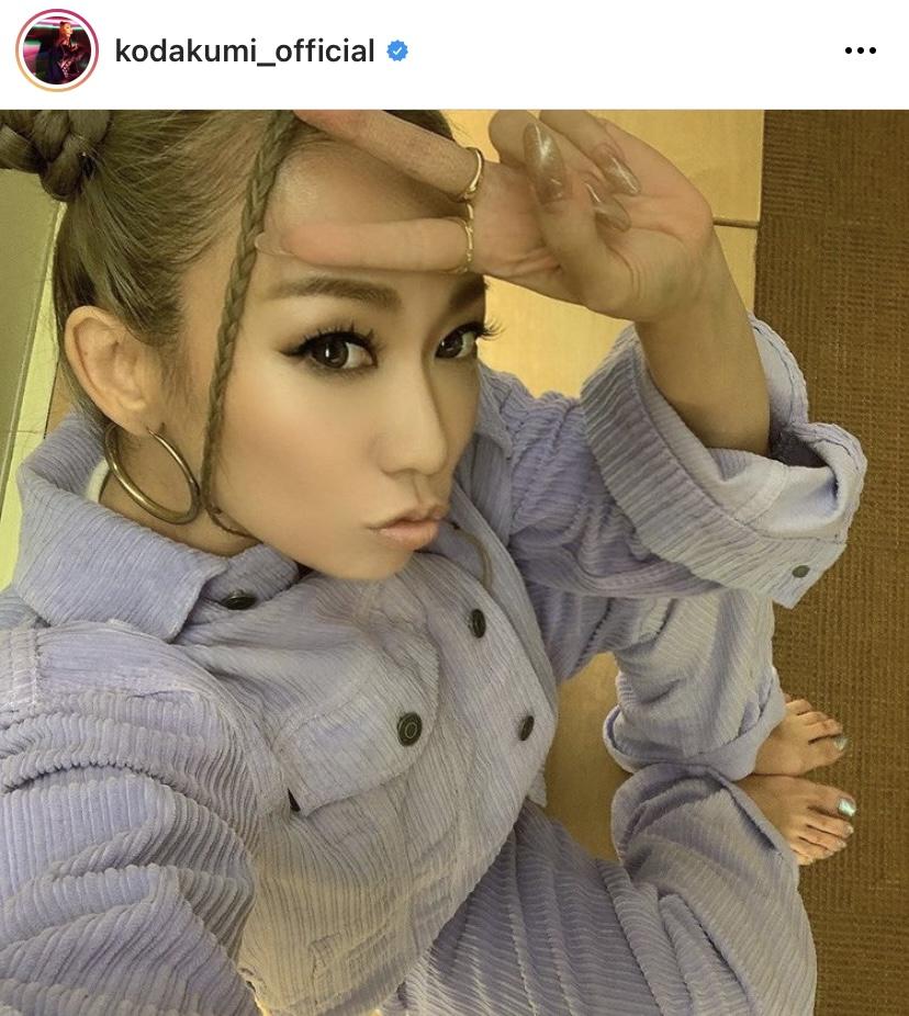 倖田來未、ツインお団子×パープルのセットアップSHOT公開し反響「可愛すぎ」「くぅちゃんだから似合う」