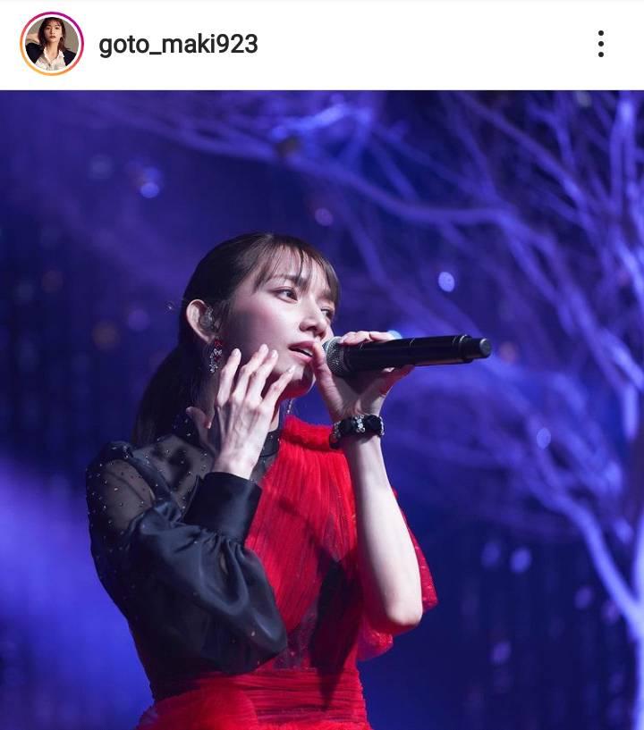 後藤真希、黒×赤のステージ衣装が映える歌唱SHOTに「完璧」「美人が溢れてる」