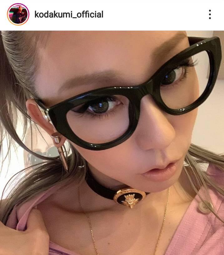 倖田來未、太めピアス×黒縁メガネのアップSHOTに「かっこいい」「キュンです」