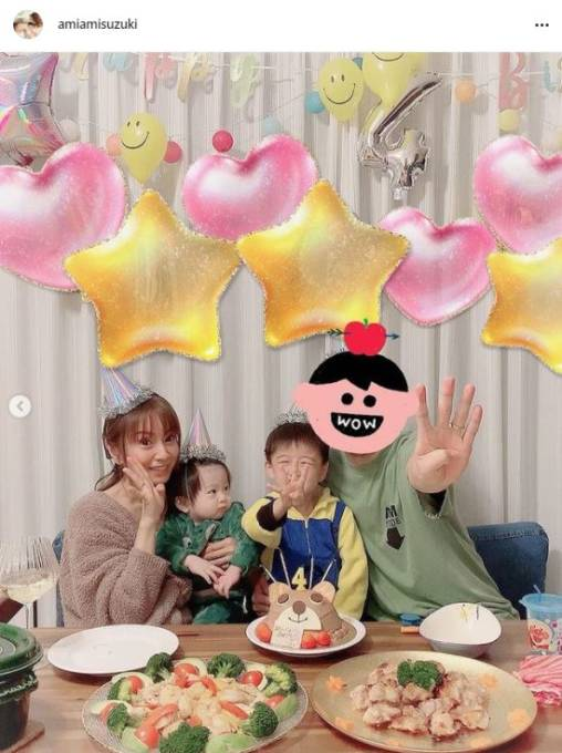 鈴木亜美、長男の4歳バースデーを祝う家族4SHOTに反響「笑顔が素敵」「幸せ感いっぱい出てる」