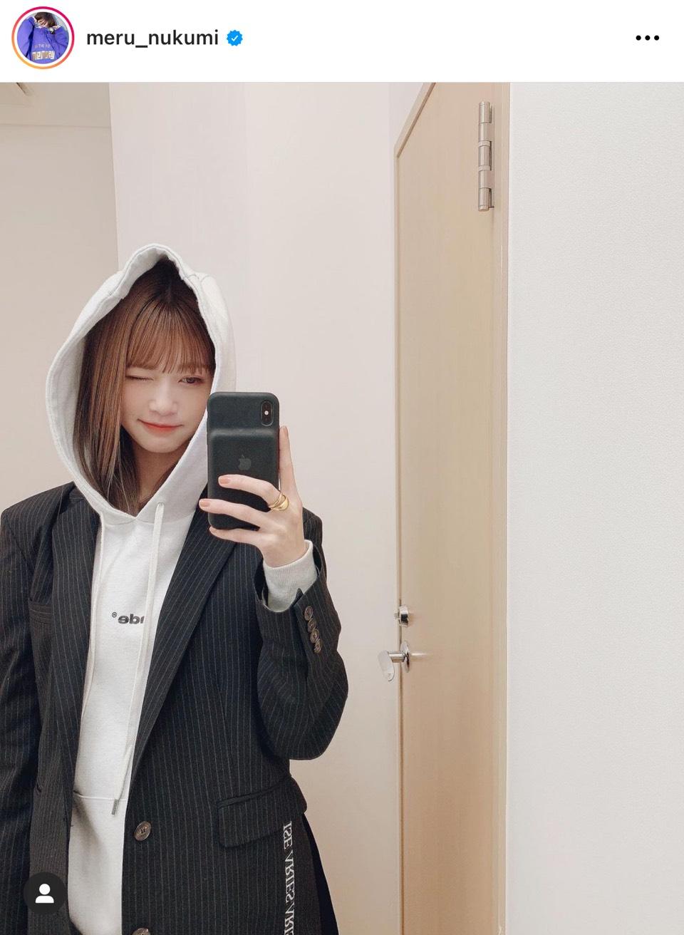 めるる、パーカー×ジャケットの私服コーデに反響「大人っぽい」「憧れ!!」