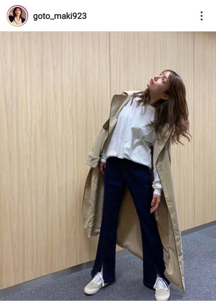 """「足長い」後藤真希、軽やかなトレンチコートの""""春服コーデ""""に反響「スタイル良すぎ」"""