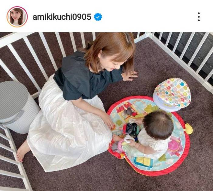 菊地亜美、娘とふれあう微笑ましい親子SHOTに反響「ママの顔」「素敵な写真」サムネイル画像!